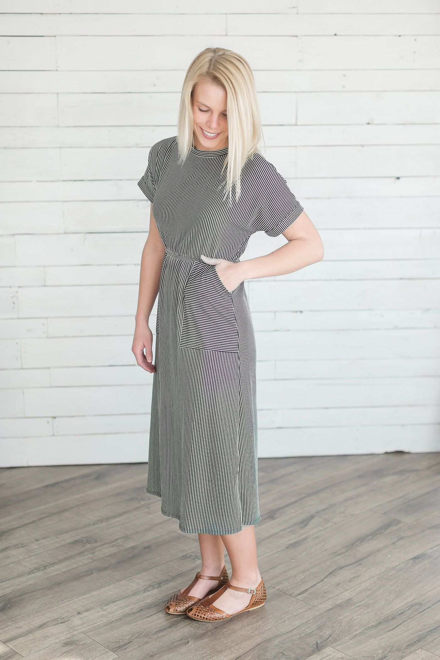 bdbf69d29d3a8 Stripe Pocket Modest Midi Dress | Clothing and Accessories | Dresses ...
