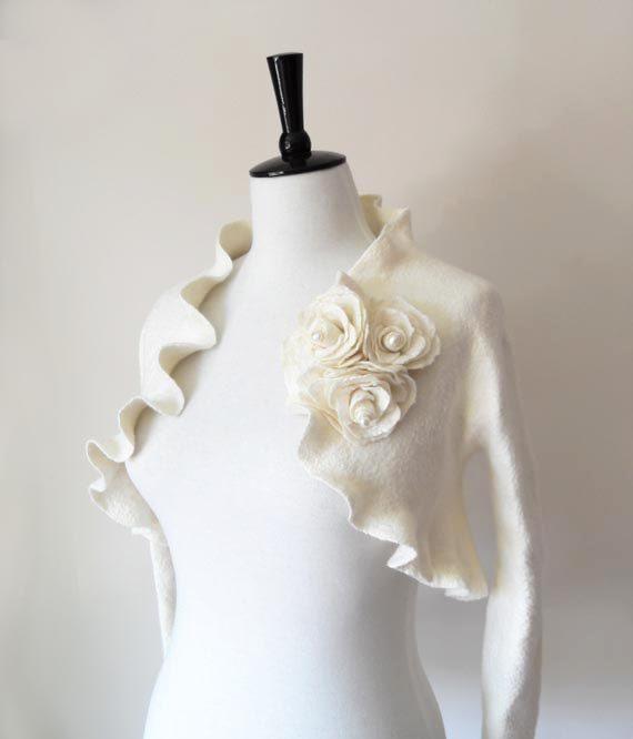 Bridal Bolero Shrug Ivory White Wedding Bolero Jacket Felted with