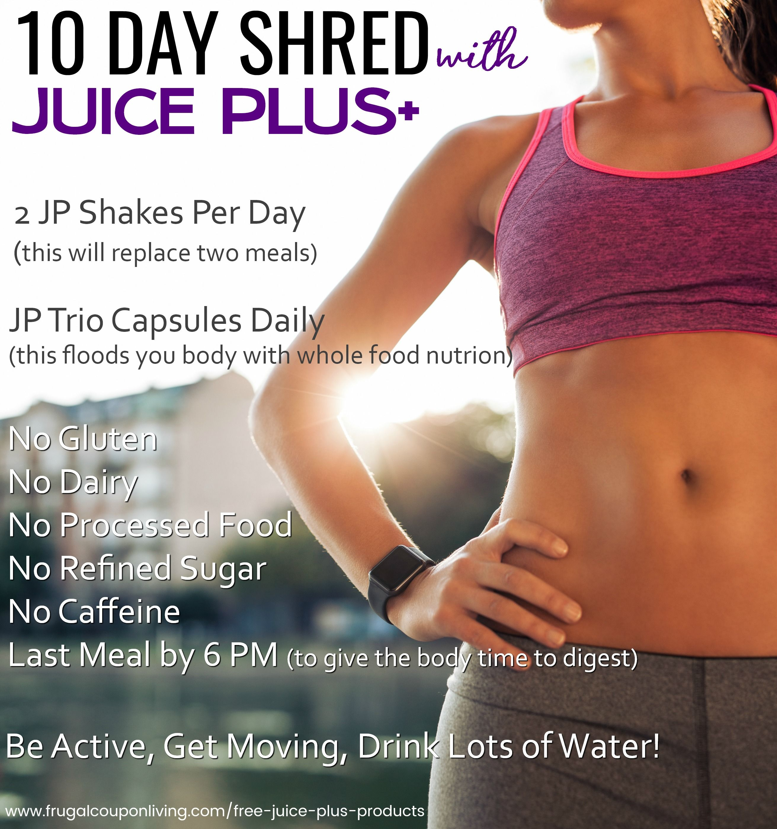 Juice Plus 10 Day Shred. Juice plus complete protein shakes recipes plus  diet challenge. Includes Juice Plus Trio Capsules on Frugal Coupon Living  ...
