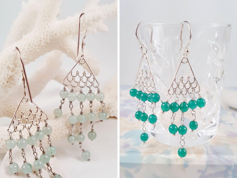 Jade Chandelier Earrings, Chrysoprase Earrings, Sterling Silver Earrings, Green Stone Earrings, Fish Tail Earrings, Beaded Tassel Earrings by AtehModus on Etsy