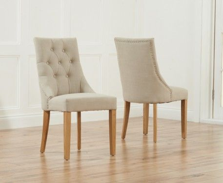 Pacific Beige Fabric Oak Leg Dining Chairs
