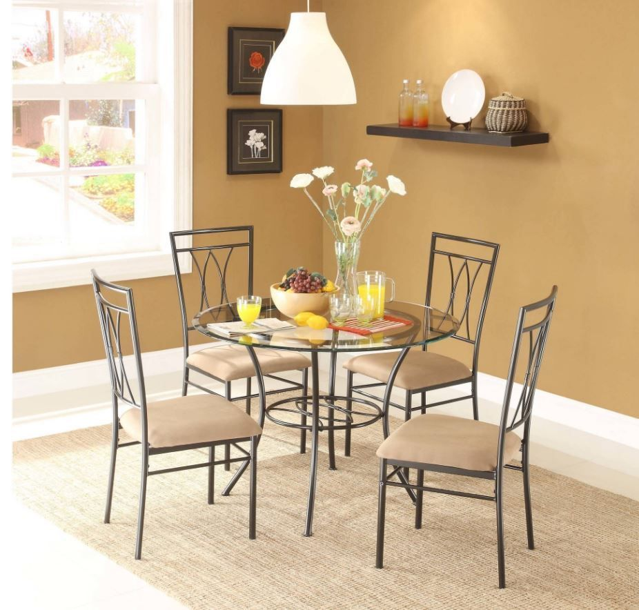 Glass Top Dining 5 piece Set Table Metal Chair plete Furniture