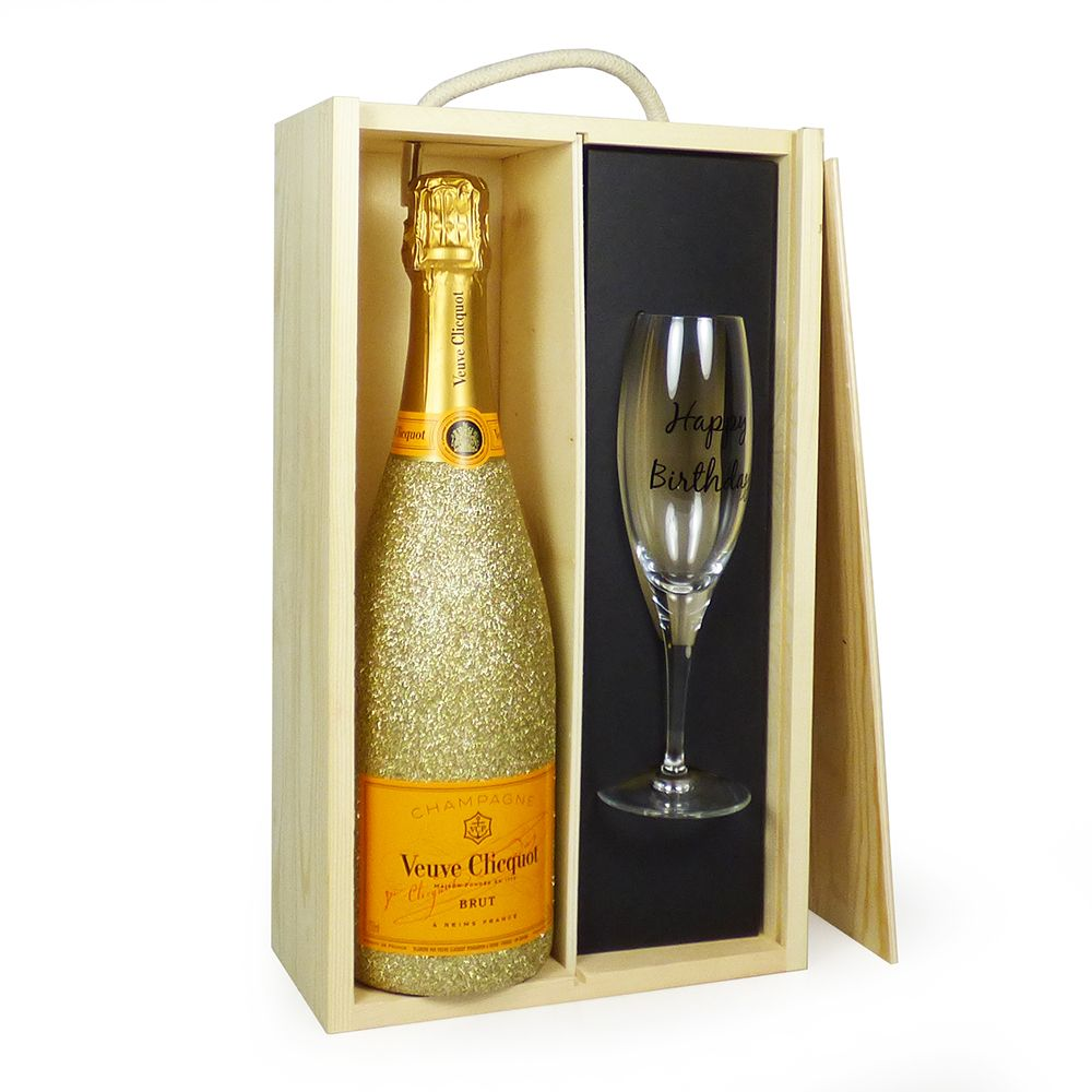 40th Birthday Champagne Flute Gift Premium Black and Gold Sparkle Gift Boxed
