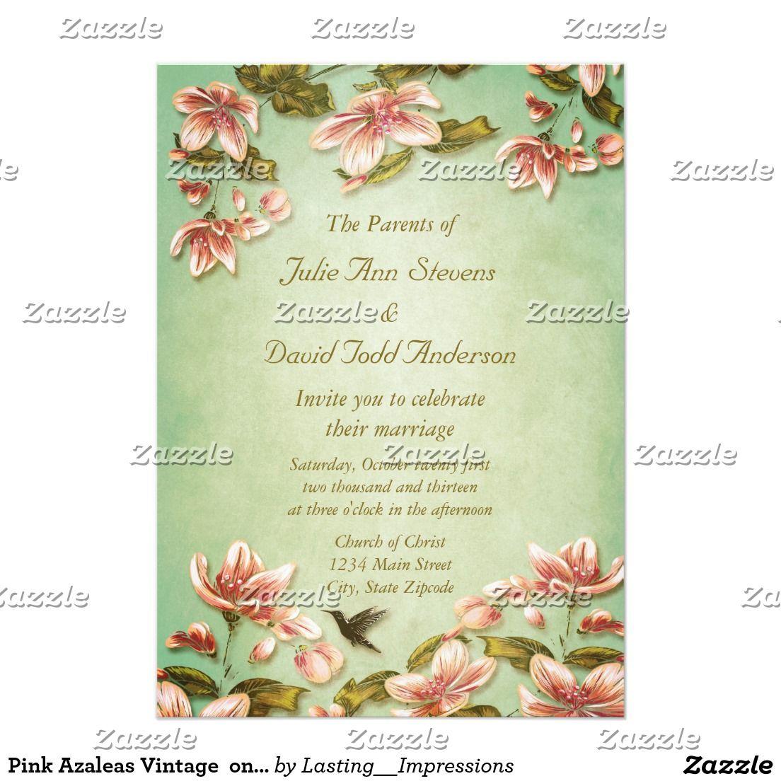 Pink Azaleas Vintage On Green Mist Wedding Victorian Wedding