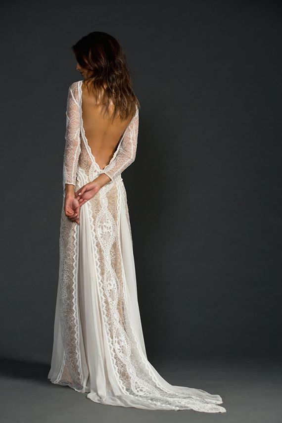 Grace Loves Lace Inca Illusion Dress Wedding Bridal Long Sleeves Backless Sheer Bohemian Boho Dreamy