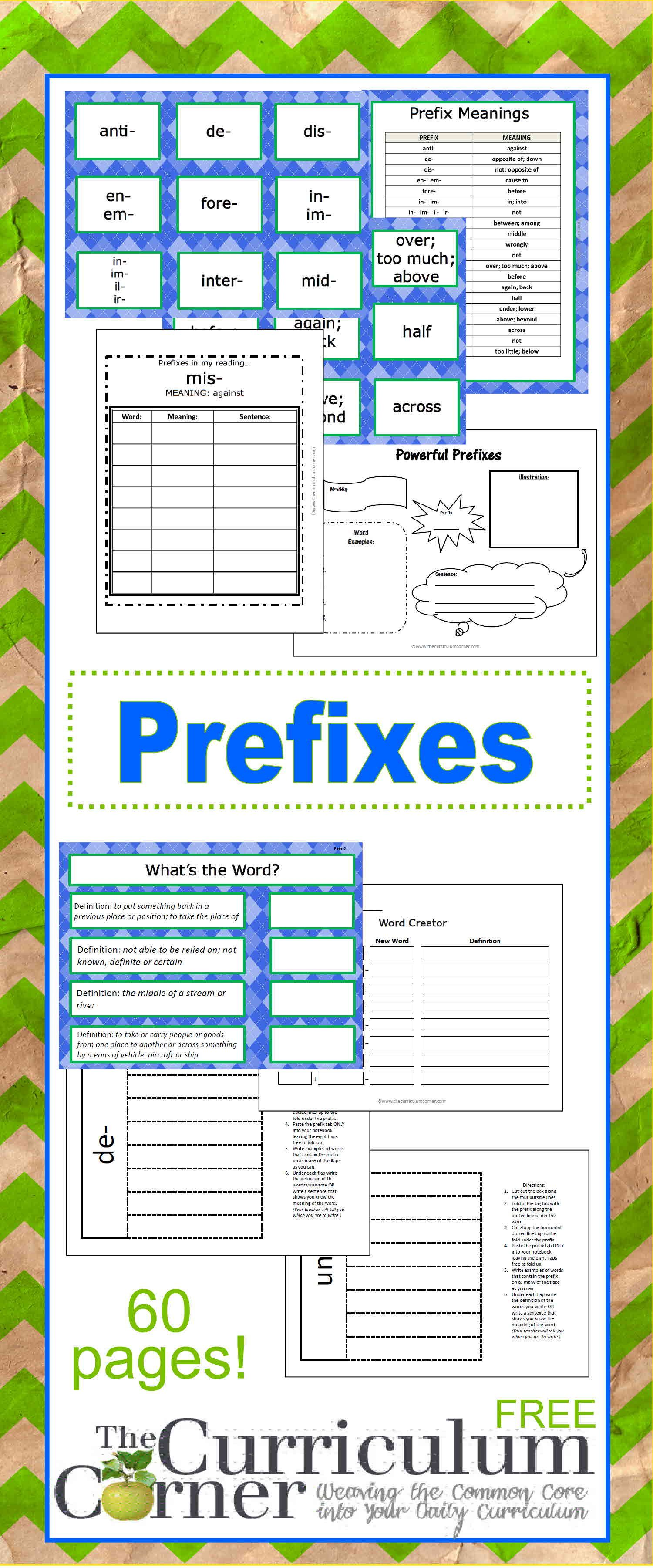 Prefix Printables & Resources Pinterest