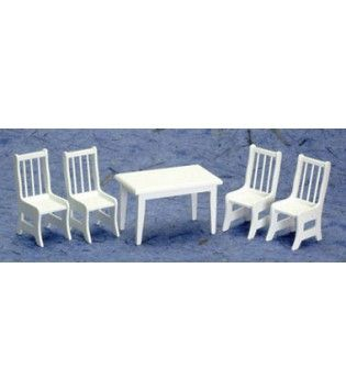 AZTEC MINIATURES   1 Inch Scale Dollhouse Miniature Dining Room Furniture    Table With 4 Chairs