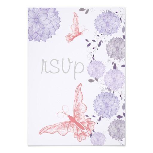 Butterflies and Lavender Chrysanthemum  RSVP   #butterflies #wedding #Spring #WeddingCollection #WeddingInvitations #Invitations #Floral