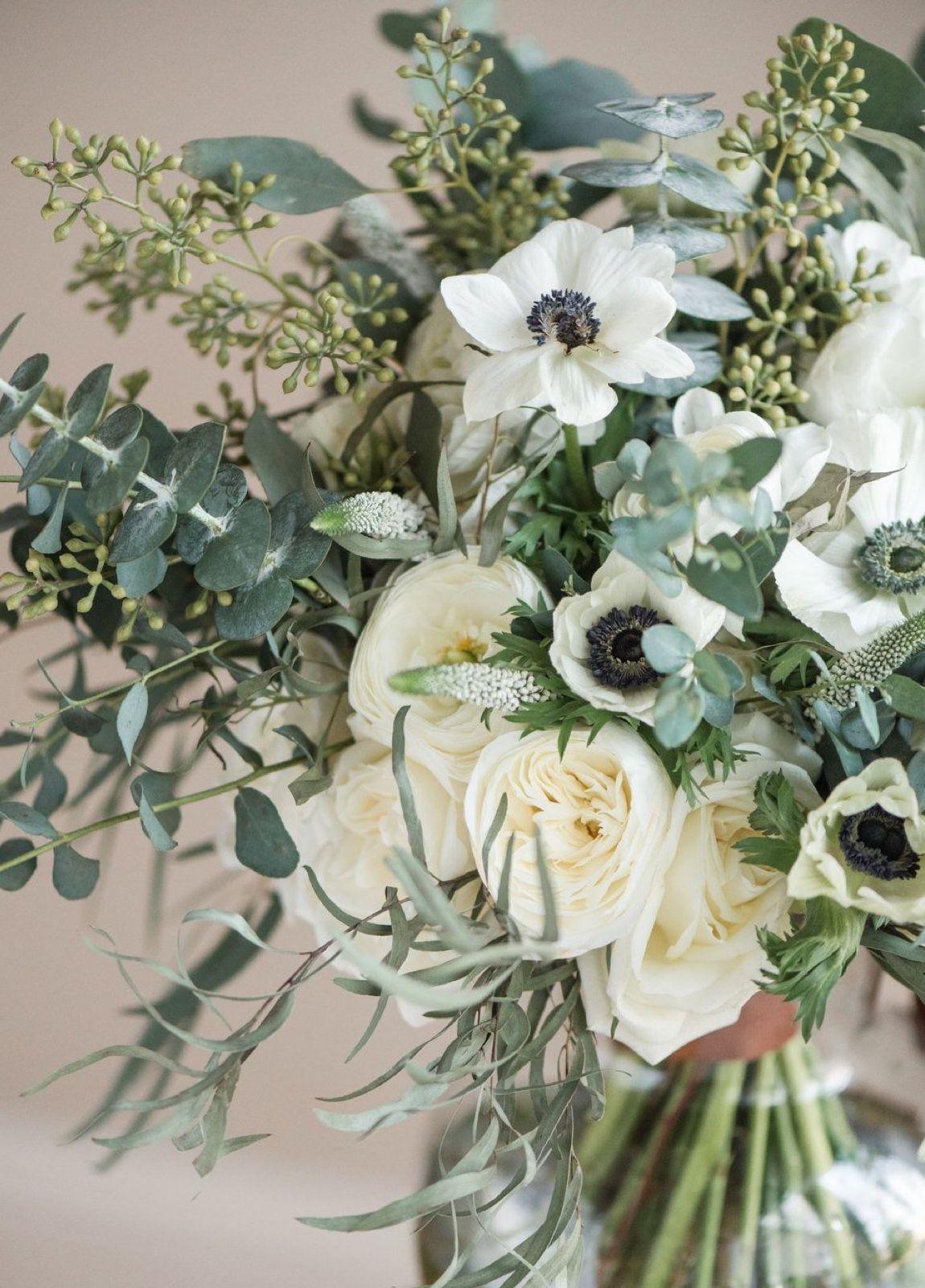 Flower Arrangement With Anemones Seeded Eucalyptus Feather Eucalyptus Gunni Eucalypt Wedding Flower Guide White Wedding Bouquets Wedding Flower Arrangements