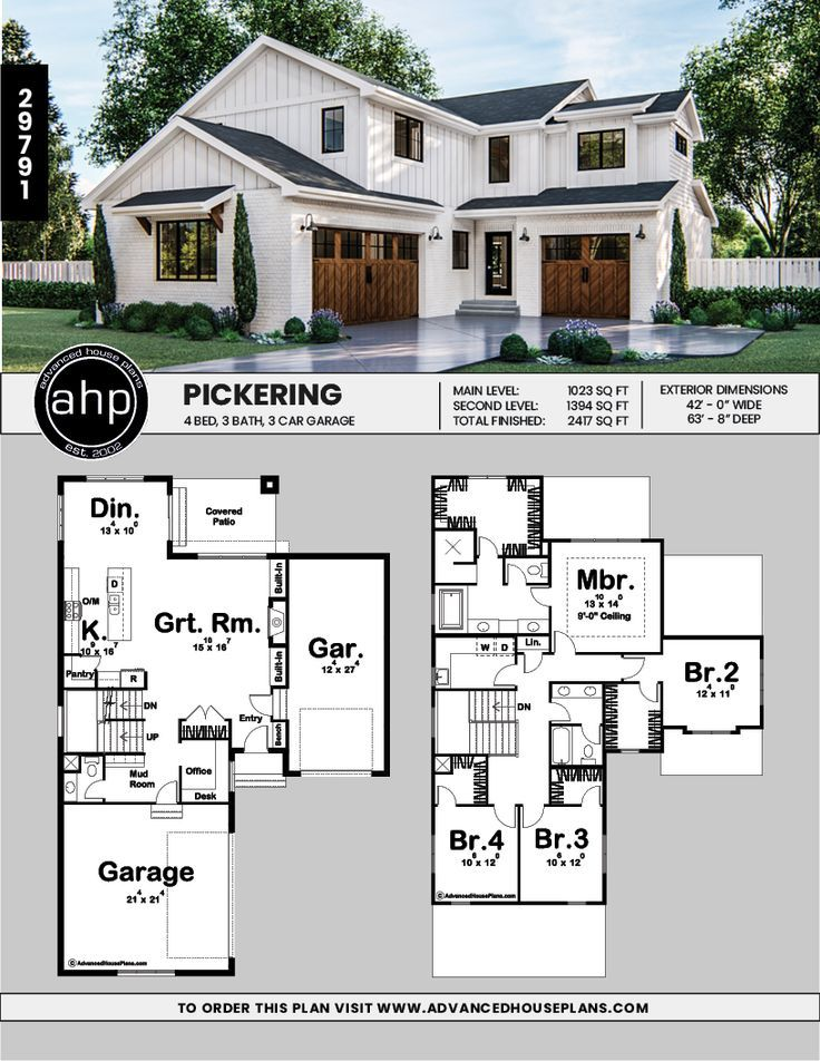Pickering 2 Story Modern Farmhouse House Plan in 2020 ...