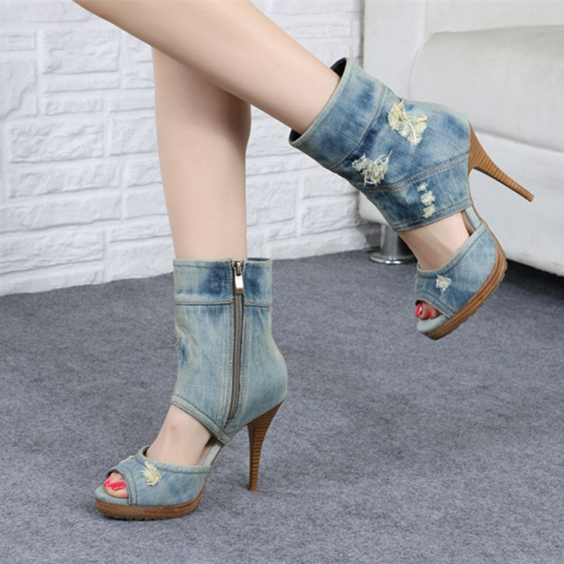 Altos de Cremallera Verano de Botas Punta Mezclilla Vaqueros de Abierta Azul Pantalones Femme Para Tacones Sandalias Lateral Zapatos 2016 Mujer Desinger pwxqaaC