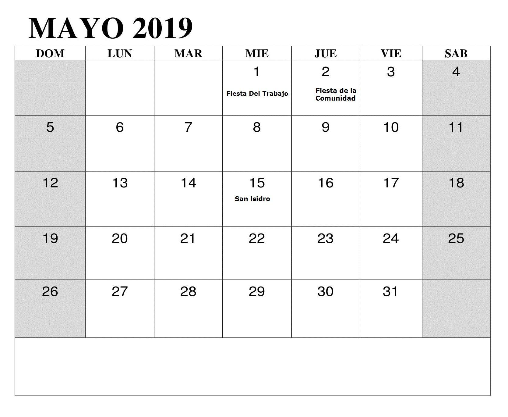 Calendario Mayo2019.Mayo 2019 Con Festivos Calendario Lista De Tareas Calendario Mayo