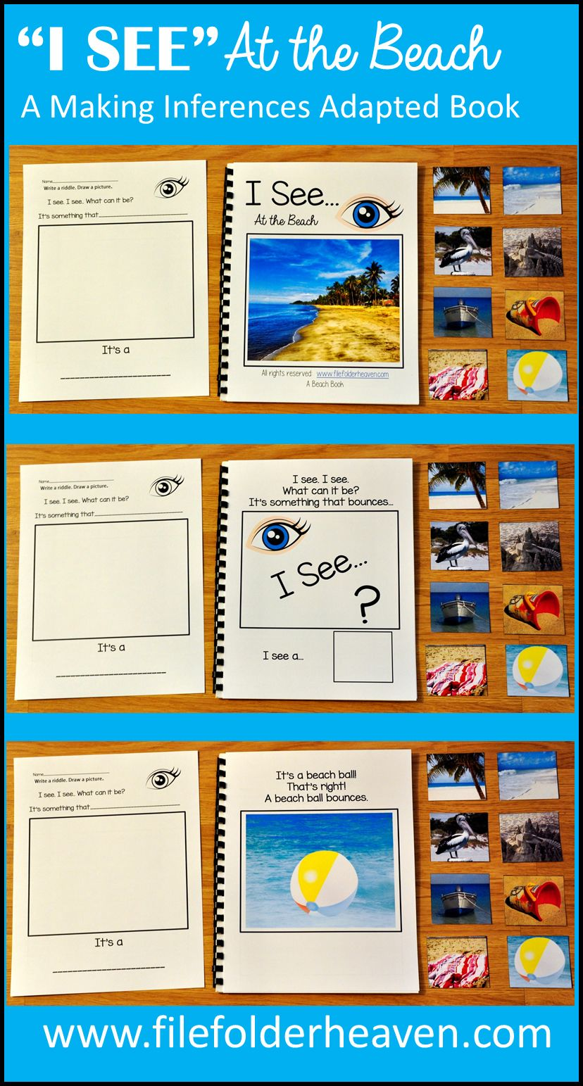 "This Beach Adapted Book, ""I See,"" At the Beach focuses on identifying beach themed objects by attribute, or function and includes real photos of things commonly seen at the beach.  In this activity, the teacher or therapist reads through the book with students as students try to solve the riddle by identifying the beach themed object and matching piece that best fits the description.  Sample Text:  ""I see. I see.  What can it be?  It's something that bounces..."