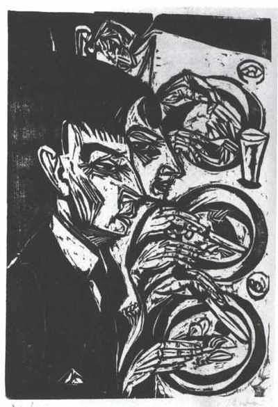 Linoleum Berlin , Ernst Ludwig Kirchner Nervous People Eating Kirchner