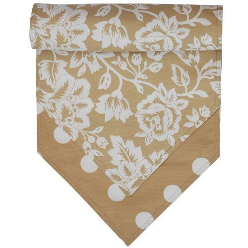 54 inch Tan Floral and Dot Table Runner by Sweet Pea Linens. $19.95. 100% Acrylic with 100% Polyester Fill.. Measures approximately 13 inches wide, 67 inches long.. Reversible design.. Machine Wash/Dry Flat.. Decorate your table with a coordinating Sweet Pea Linens table runner. Sold individually.. Fun Stylized Tan and White Floral Print with a coordinating Dot Print on the Reverse. Great for mixing and matching. Made from an outdoor fabric so more durable for the outdoors...
