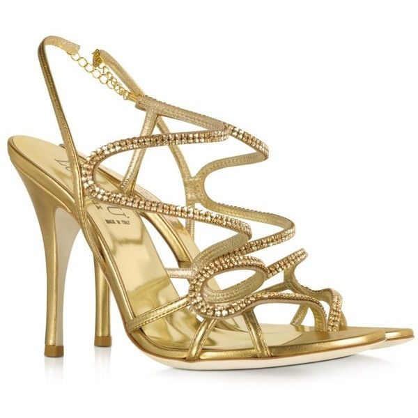 9302b70d3 Loriblu Golden Jeweled Sandal (2.200 BRL) ❤ liked on Polyvore featuring  shoes