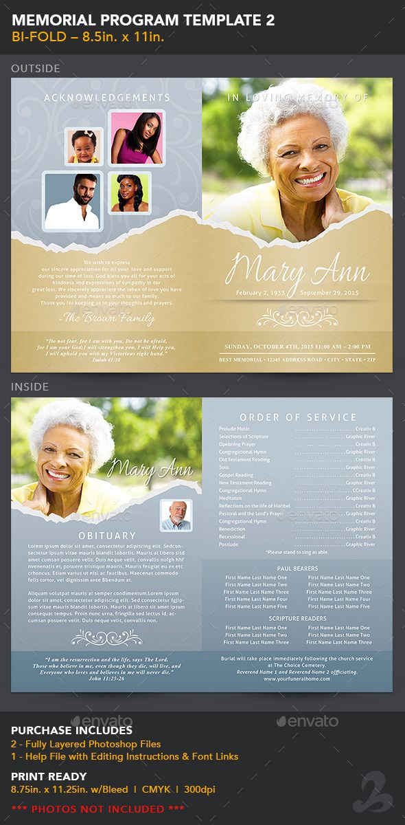 Memorial Program Template   Program Template Text Fonts And