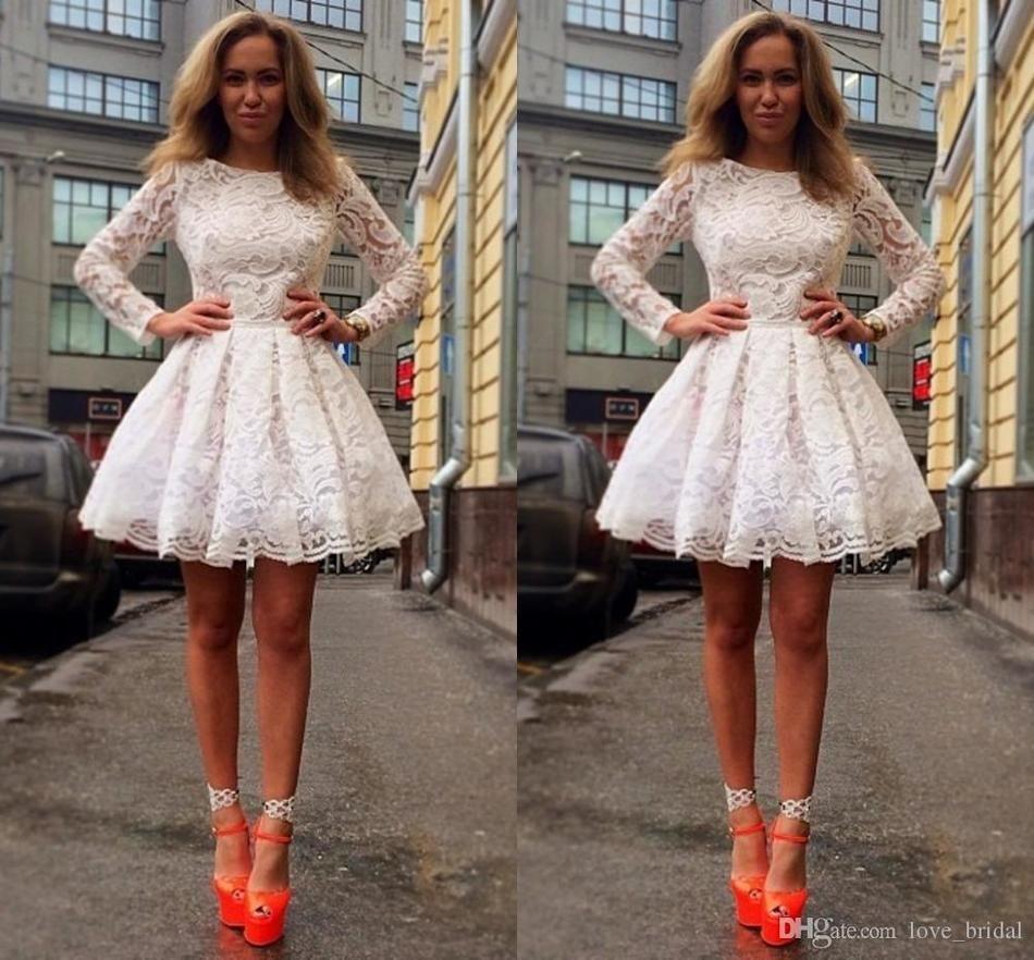 Graduation dress homecoming dresses elegant aline long sleeve