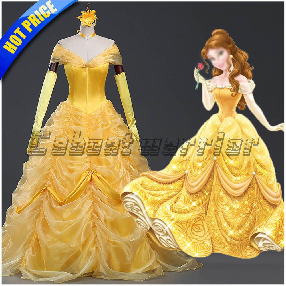 Women Beauty and Beast Belle Cosplay Costume Dress+Gloves Set Halloween Outfit