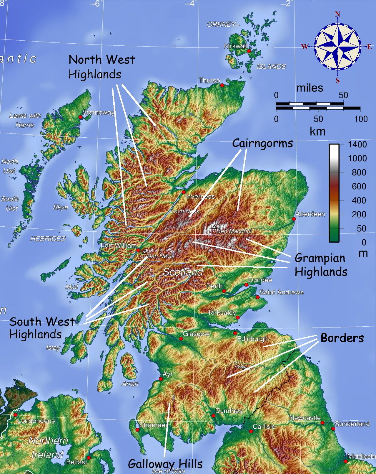 map showing mountainous areas of Scotland maps