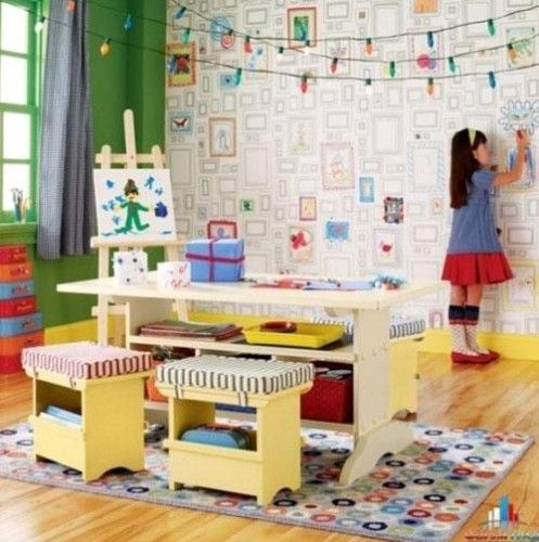 Beautiful Childrenu0027 Bedroom And Playroom Design Ideas With Kidsu0027 Artworks  And Painting Decorations |