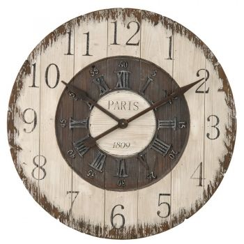 xxl wanduhr aus holz 80 cm 4kl0049 deko salon vintage shabby chic pinterest. Black Bedroom Furniture Sets. Home Design Ideas