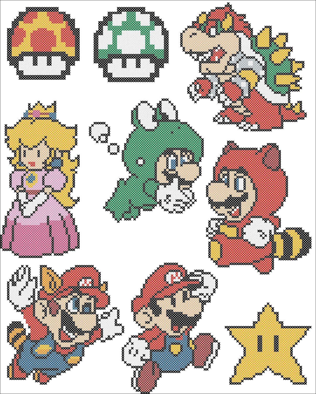 BOGO FREE! SUPER Mario Character Mario Videogame Cross stitch ...