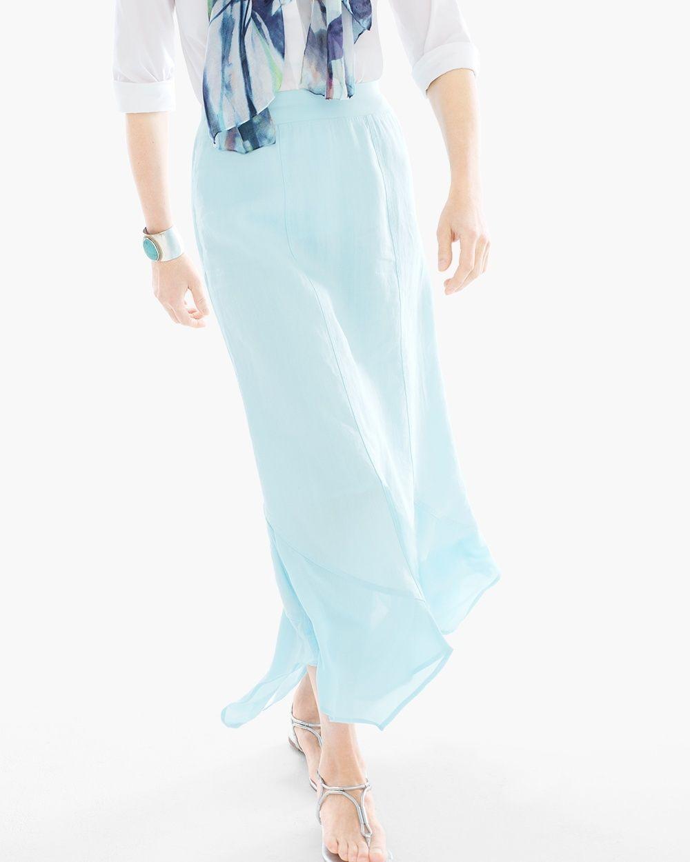 cecab040ec Pull-on styling with elastic waist. Chico's Handkerchief Hem Maxi Skirt in  Aria Aqua #chicos
