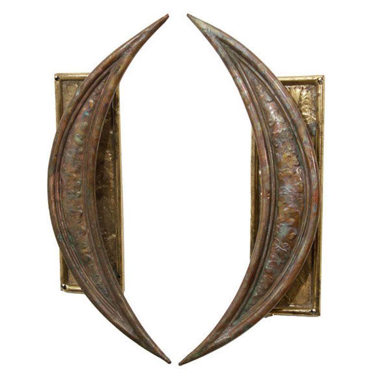 paul evans style vintage pair of brutalist braised brass crescent