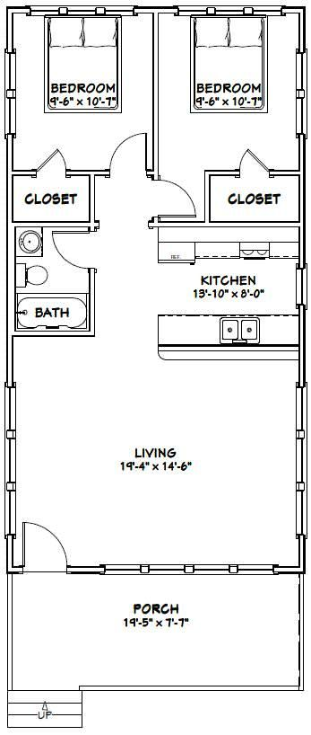 20x38 house 20x38h1 760 sq ft excellent floor plans for