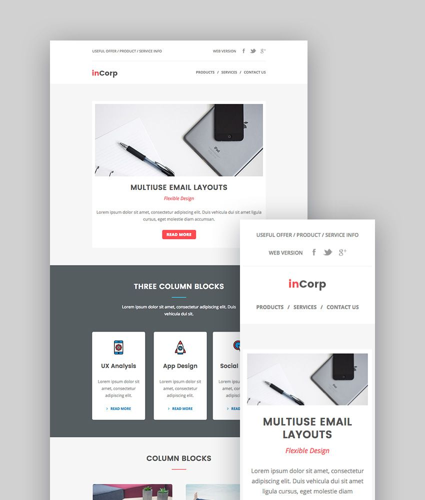 inCorp - Corporate Email Newsletter Templates | Teamplates | Pinterest