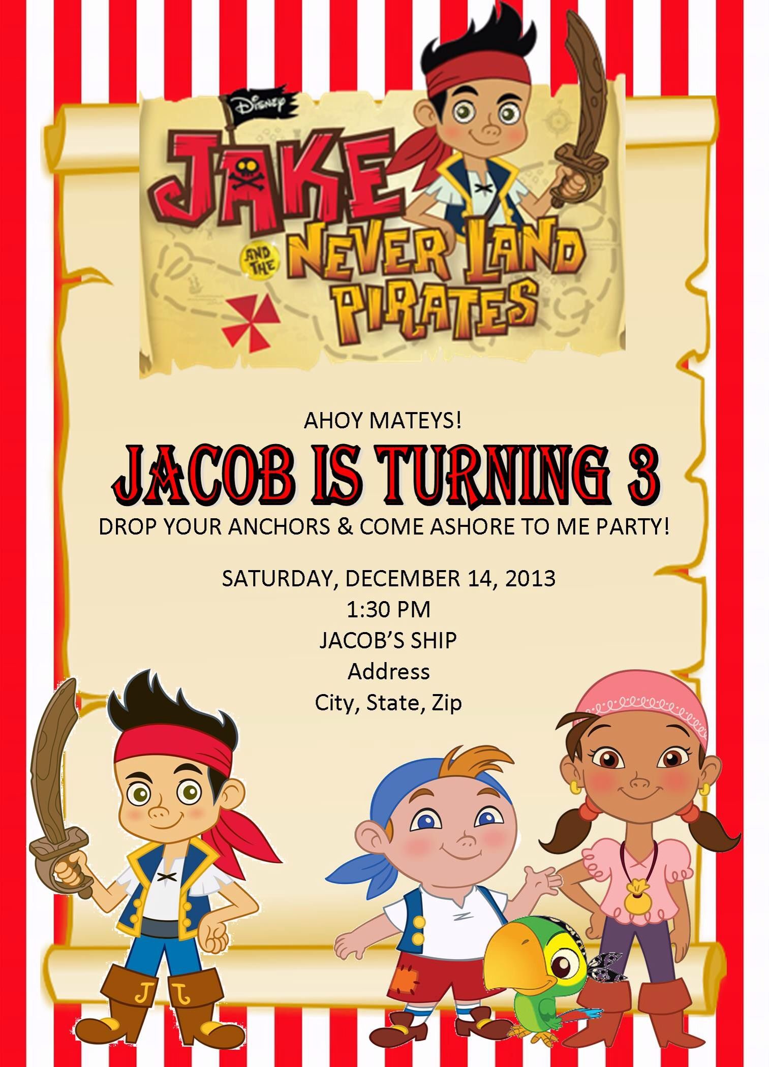 Jake And The Neverland Pirates Birthday Invites Done By Yours Truly