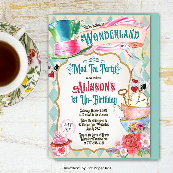 Alice In Wonderland Tea Party Birthday Invitation Mad Hatter Tea