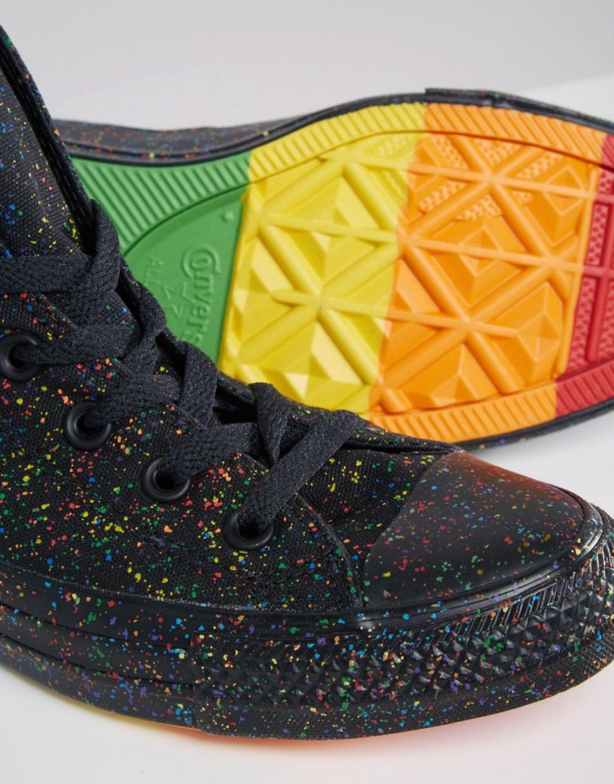 fe58037e9c2a Image 3 of Converse Pride Rainbow Speckle Chuck Taylor High Top Trainers