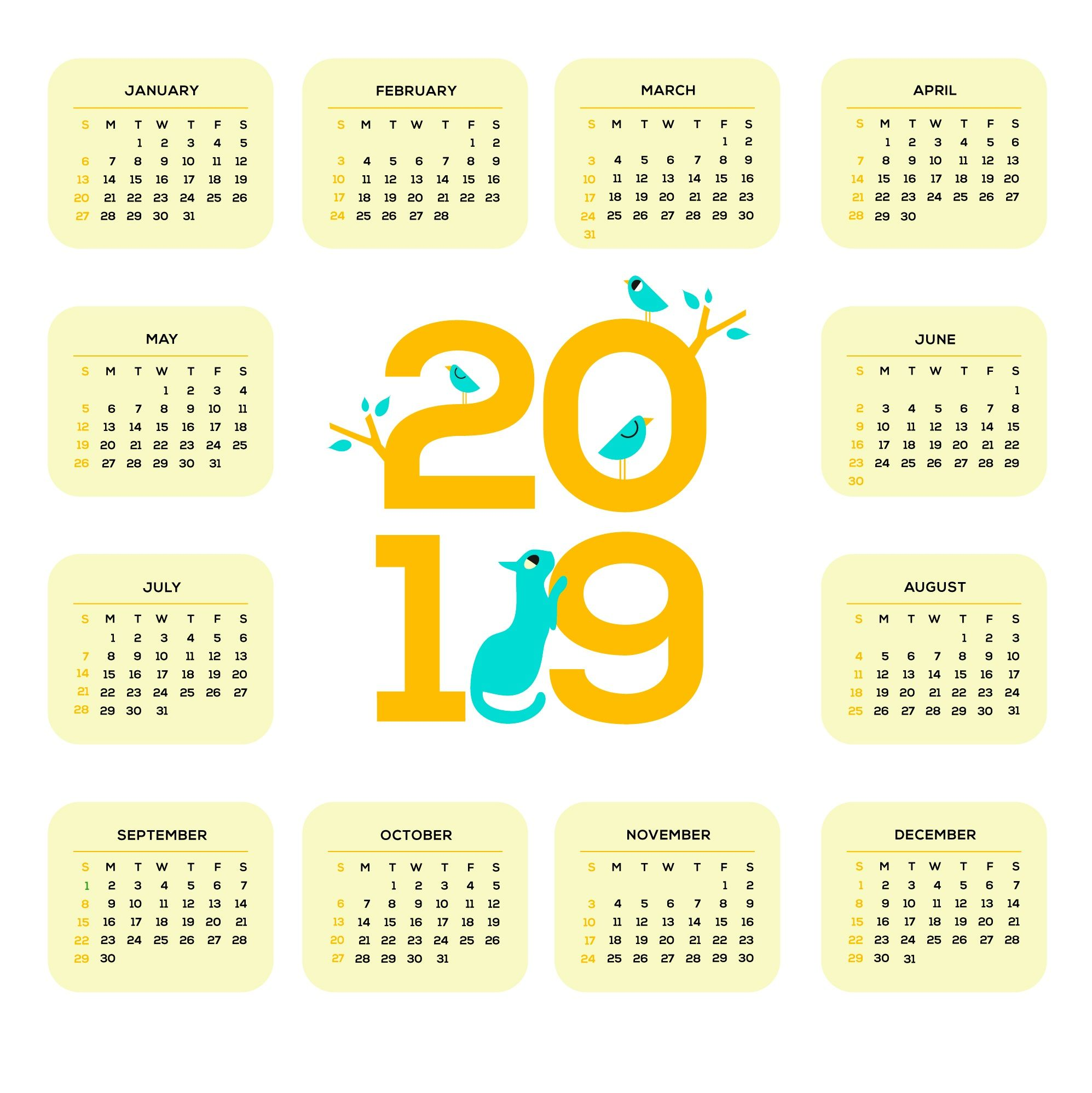 Single Page Calendar 2019 Printable 2019 One Page Calendar | Monthly Calendar Templates