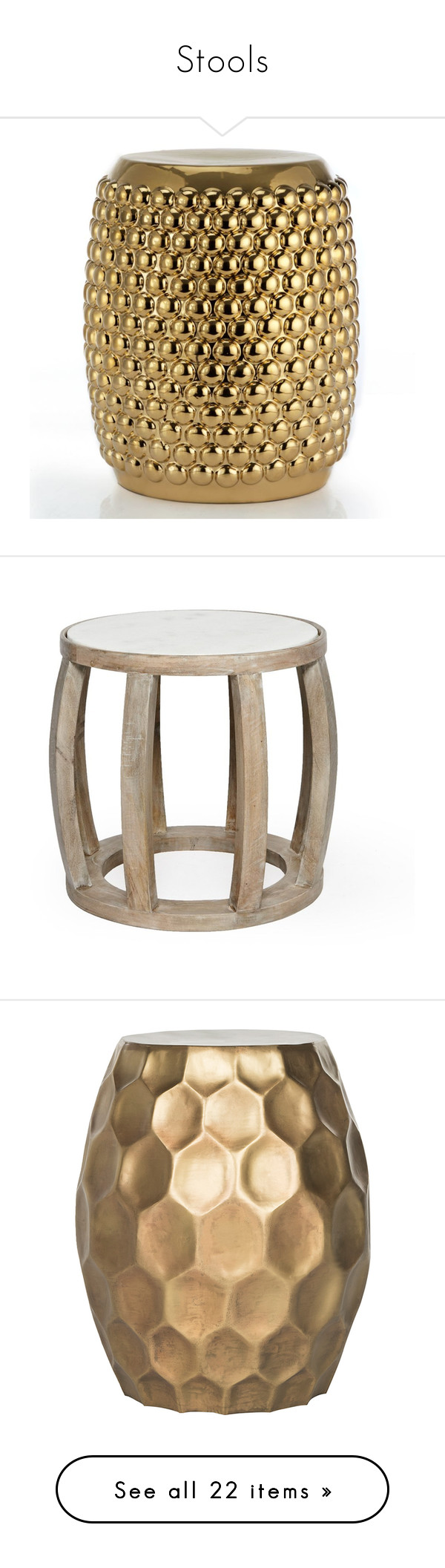 """""""Stools"""" by bonye-1 ❤ liked on Polyvore featuring home, furniture, tables, accent tables, drum side table, drum accent table, french connection, salvage furniture, drum end table and safavieh home furniture"""