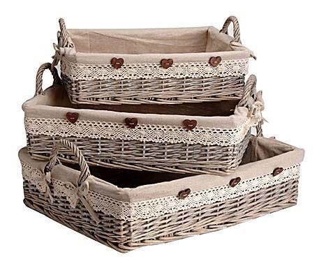 R stico glam set de 3 bandejas en mimbre y tela natural y beige cestos de mimbre - Como forrar cestas de mimbre ...