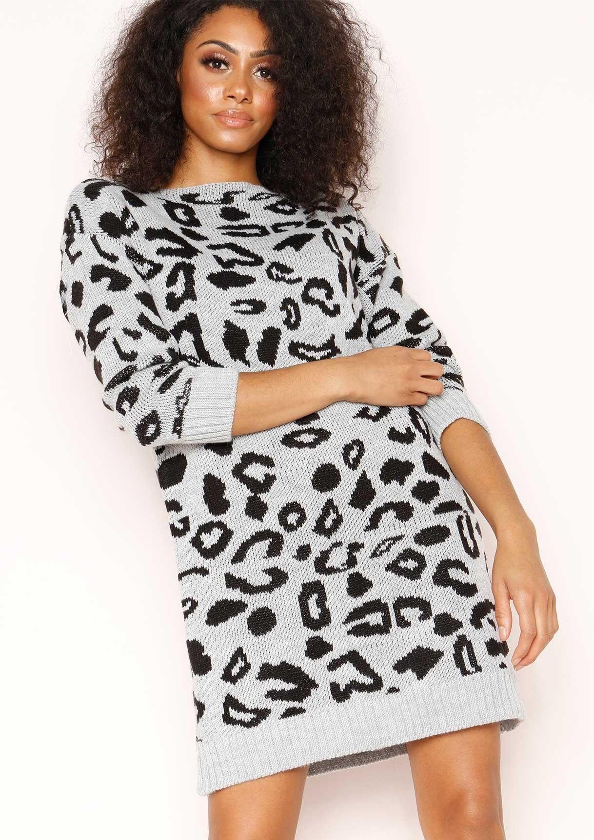 036aacd778 Missyempire - Claire Grey Leopard Print Jumper Dress