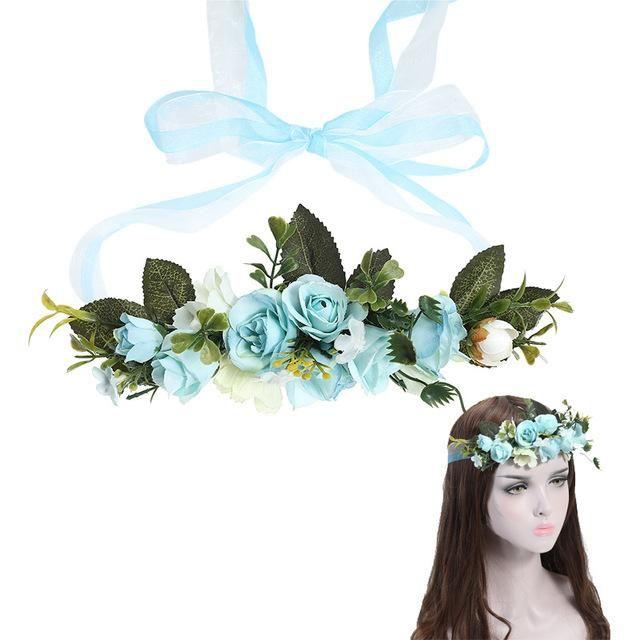 62e6a804903 AWAYTR Bride Bohemian Flower Headband Party Floral Crown Headwear for Women  Floral Garlands Adjustable Wedding Hair Wreaths