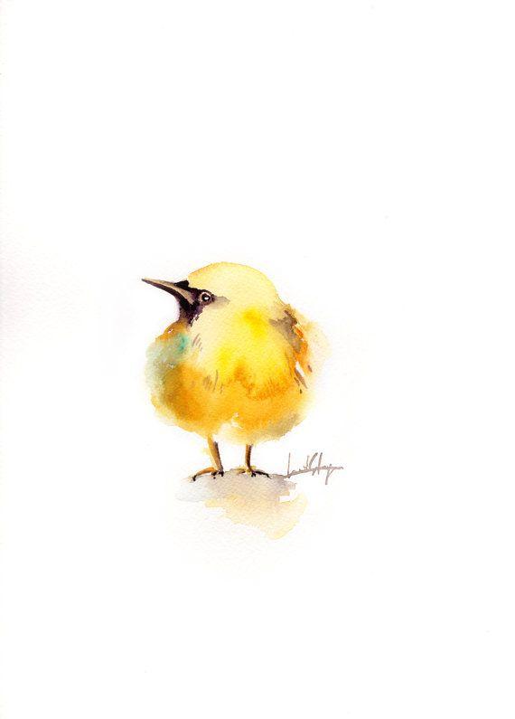 Minimalist Bird Watercolor Painting, Original Painting, Yellow Bird ...