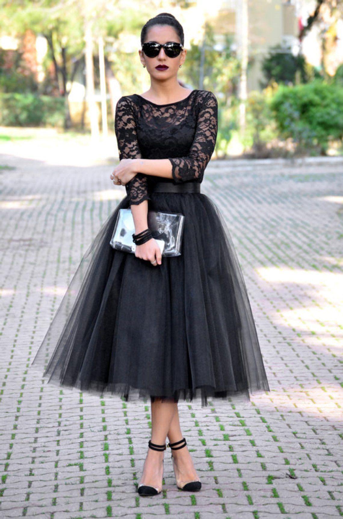 Tea Length Black Tulle Skirt Party Skirt Wedding Skirt Etsy Prom Dresses Long With Sleeves Tulle Prom Dress Prom Dresses With Sleeves [ 1723 x 1140 Pixel ]