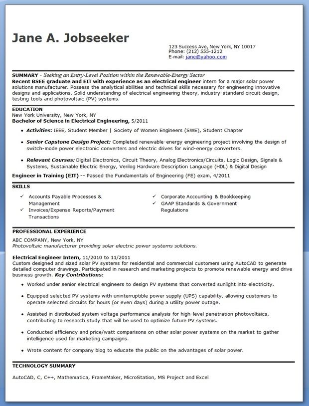 Electrical Engineer Resume Sample PDF (Entry Level) Creative - resume sample for internship