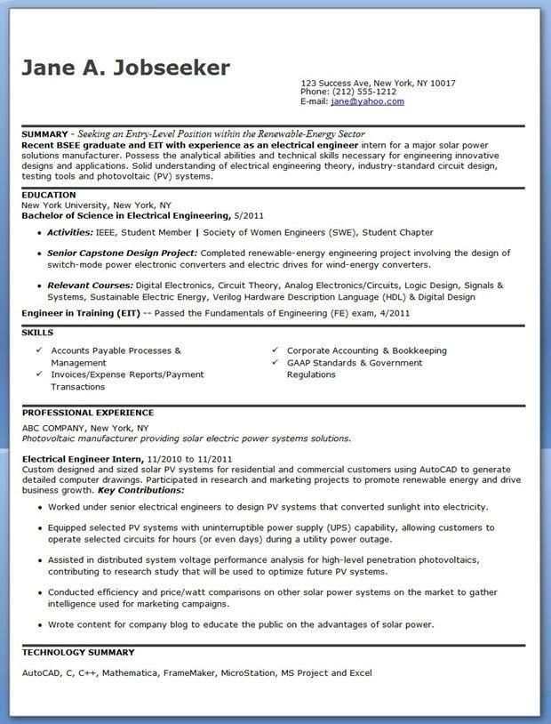 Electrical Engineer Resume Sample Pdf Entry Level Engineering Resume Engineering Resume Templates Electrical Engineering
