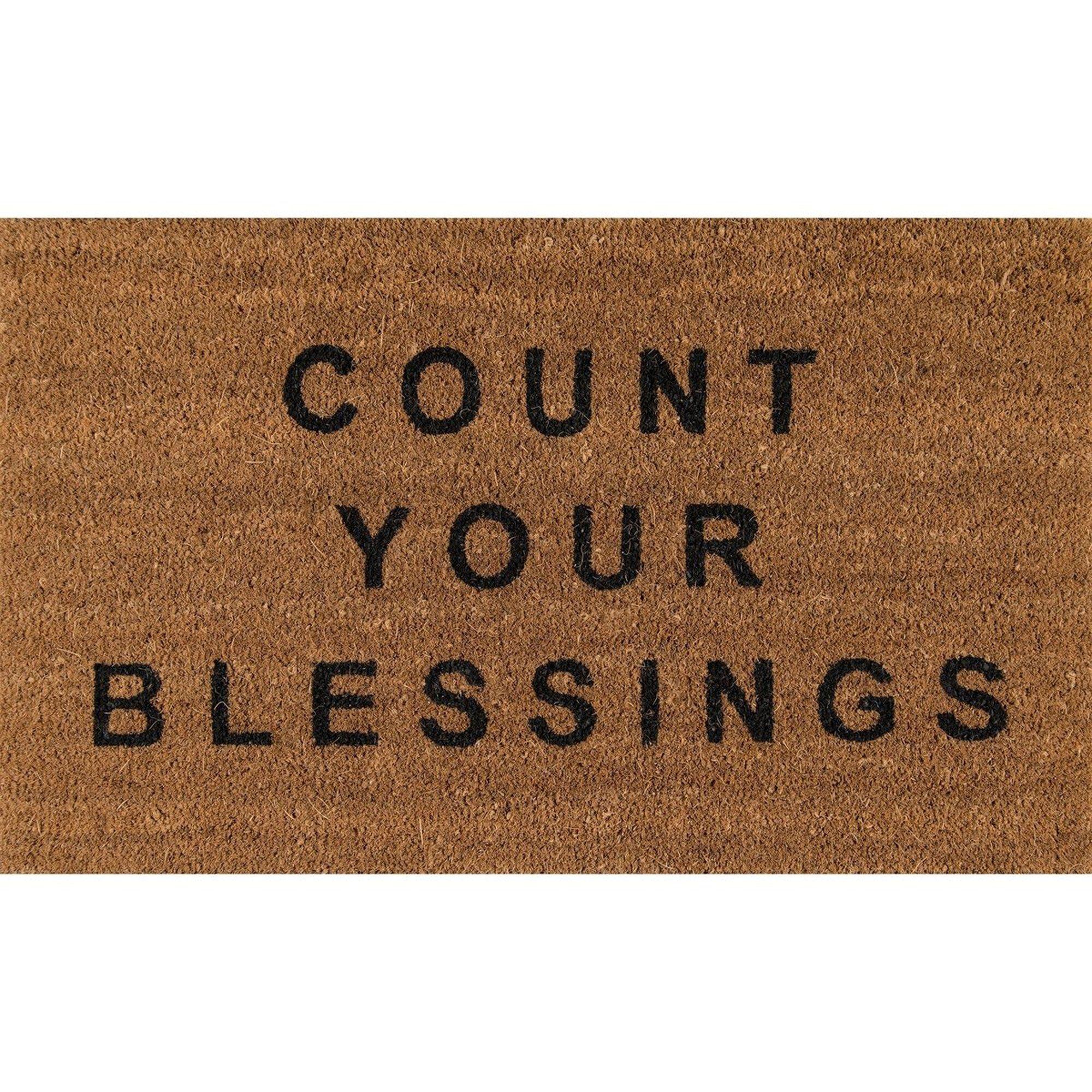 Natural Count Your Blessings Mat Door Mat Outdoor Door Mat Natural Door Mats