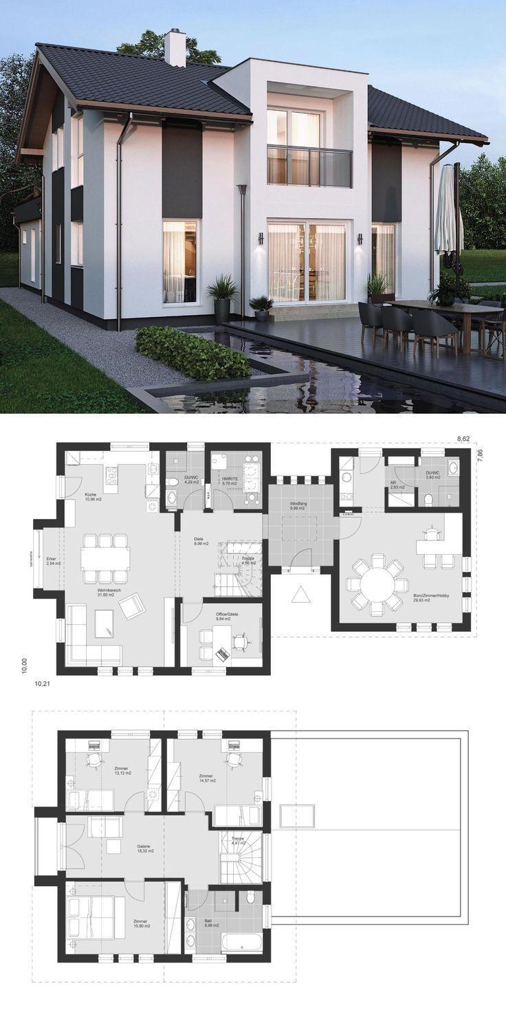 Popular House Plans ELK Haus 153 mit Büro Anbau & Zwerchgiebel - ELK Fertighaus | HausbauDire...