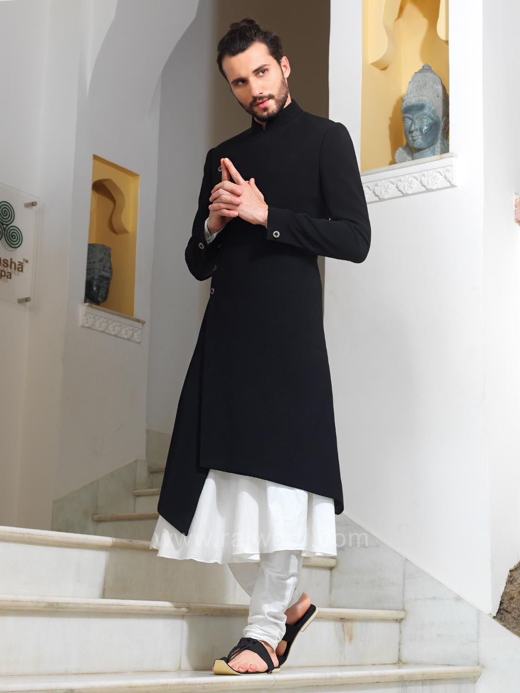 20513ddbbab Designer White and Black Color indo Western Sherwani