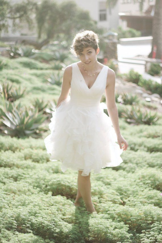 V-neck reception dress - see more at http://themerrybride.org/2014 ...
