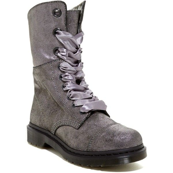 Dr. Martens Aimilie Combat Boot ($90) ❤ liked on Polyvore featuring shoes, boots, ankle booties, ankle boots, pewter, lace up combat boots, short boots, army boots, lace up platform booties and lace-up ankle boots