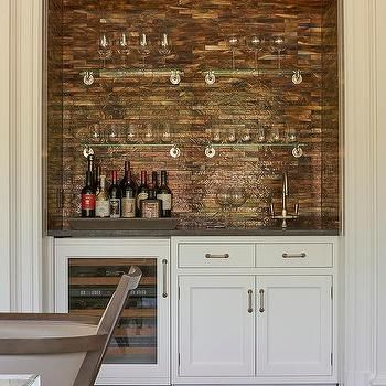 Bar Backsplash Ideas living room wet bar nook with copper mosaic tile backsplash