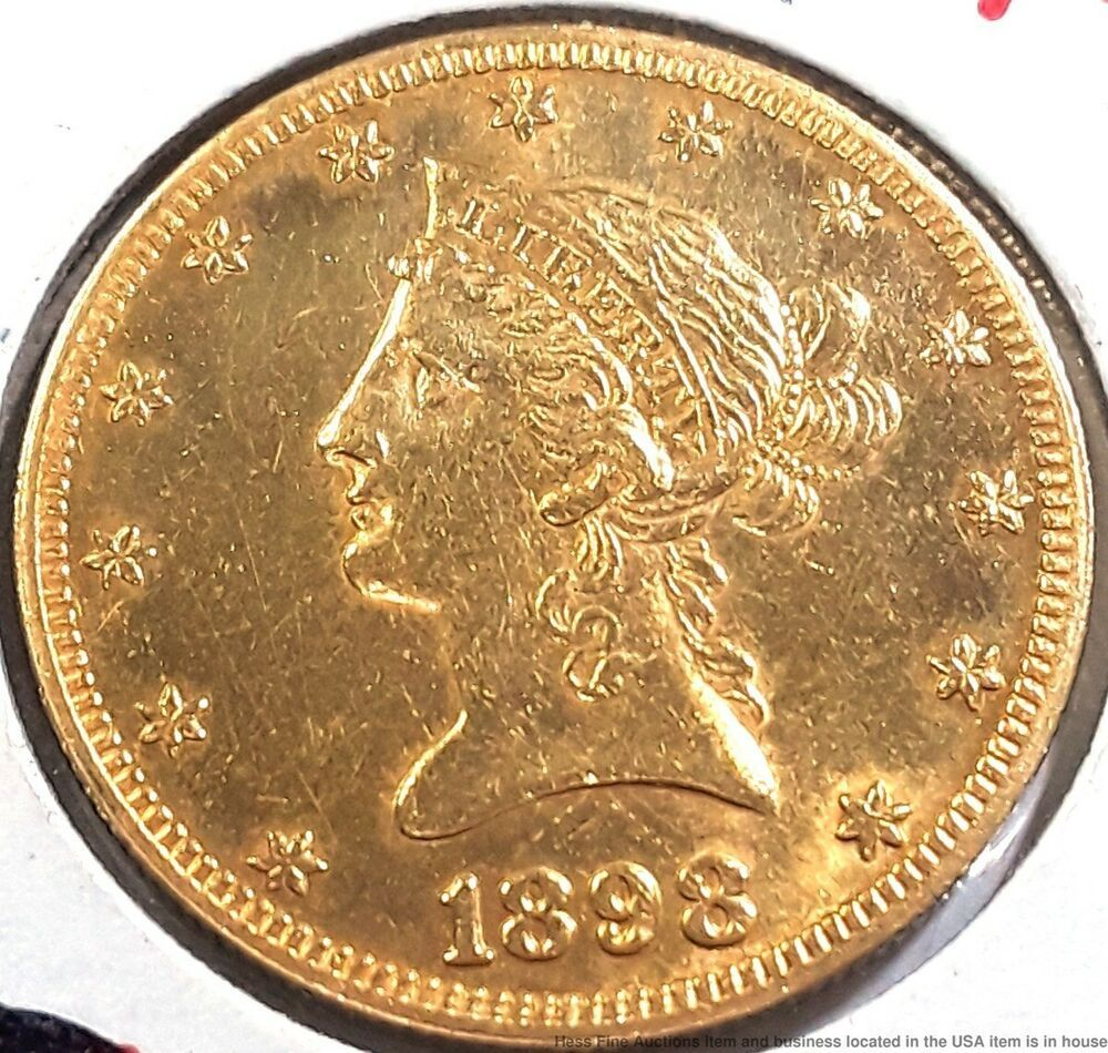 Antique Coronet American Eagle 1898 S Liberty 10 Ten Dollar Gold Coin Usa Gold Coins Coins Gold Eagle Coins